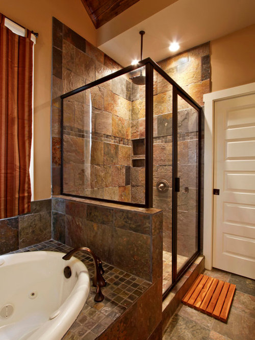 Slate Tile Shower Home Design Ideas Pictures Remodel And