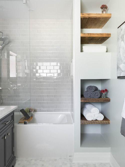 Mid-sized contemporary master gray tile and subway tile marble floor and  gray floor bathroom