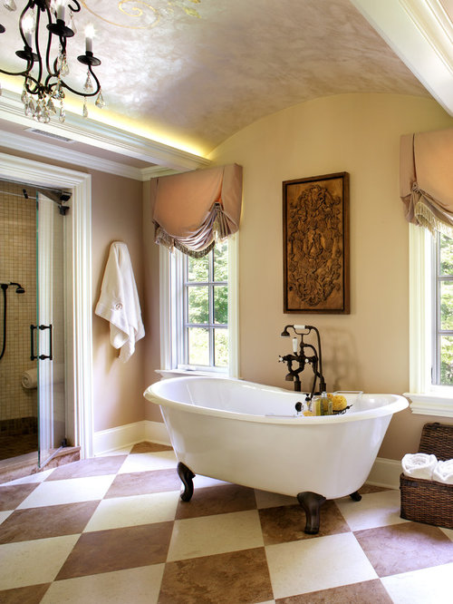 Bathroom   Large Traditional Stone Tile Limestone Floor Bathroom Idea In  New York With An Undermount