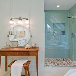 Alcove shower - modern blue tile and glass tile alcove shower idea in New York