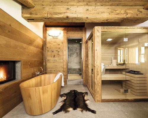 rustikale badezimmer mit nasszelle: design-ideen & beispiele für, Hause ideen
