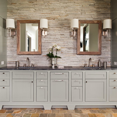 Example of a transitional beige tile and stone tile bathroom design in Richmond with shaker cabinets, gray cabinets and soapstone countertops