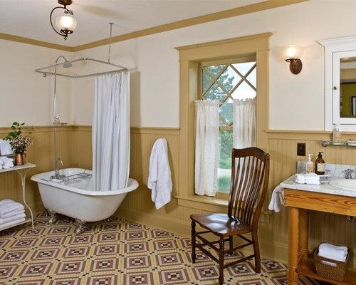 farmhouse mosaic tile floor bathroom idea in other with a dropin sink