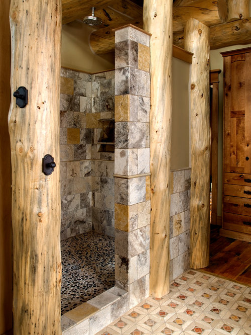 Rustic Doorless Shower Design Ideas Remodels Amp Photos