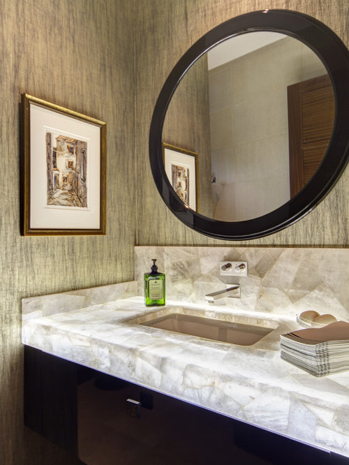 Trendy Master Bathroom Photo In Dallas With Dark Wood Cabinets, An  Undermount Sink And Flat