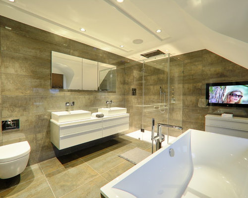 Tv in bathroom houzz for Great looking bathrooms