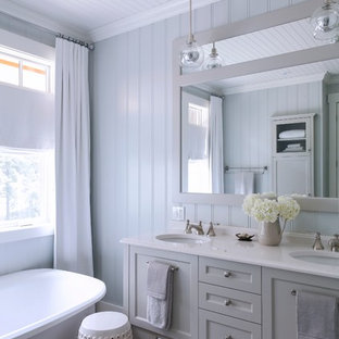Design ideas for a large classic ensuite bathroom in Other with a submerged sink, shaker cabinets, grey cabinets, a freestanding bath, grey walls, porcelain flooring, engineered stone worktops and multi-coloured floors.