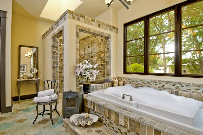 Eclectic Bathroom by Cornerstone Architects
