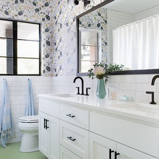 Bathroom - eclectic white tile and subway tile green floor bathroom idea in Austin with shaker cabinets, white cabinets, multicolored walls and an undermount sink