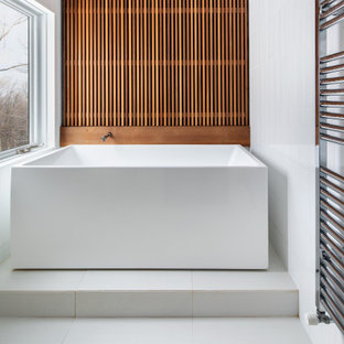 Bathroom - mid-sized contemporary master white tile and porcelain tile wood wall, ceramic tile and white floor bathroom idea in Boston with open cabinets, white walls and a hinged shower door