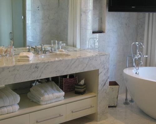 Trendy Bathroom Photo In Atlanta With Marble Countertops