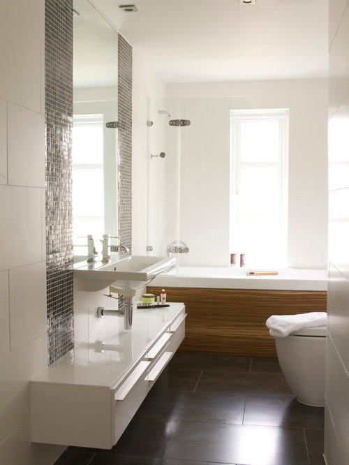 Houzz 5x8 Tub Shower Combo With Brown Tile Design Ideas Remodel Pictures