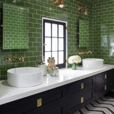 Transitional master green tile and subway tile multicolored floor bathroom photo in Los Angeles with shaker cabinets, black cabinets, green walls and a vessel sink