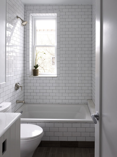 Example Of A Mid Sized Trendy 3/4 White Tile And Subway Tile Marble
