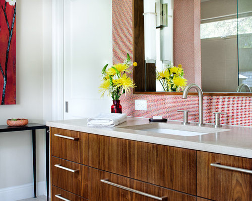 Trendy Master Red Tile And Ceramic Tile Bathroom Photo In Austin With An  Undermount Sink,