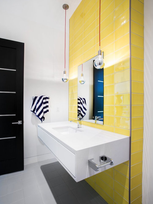 inspiration for a contemporary yellow tile gray floor bathroom remodel in salt lake city with flat - Yellow Tile Bathroom Ideas