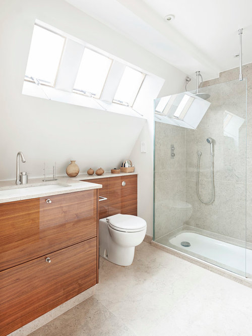 best bathroom and cloakroom with medium wood cabinets design ideas