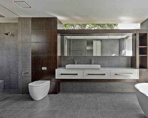 Modern Bathroom 37 amazing mid century modern bathrooms to soak your senses Minimalist Master Walk In Shower Photo In Sydney With Dark Wood Cabinets A Freestanding