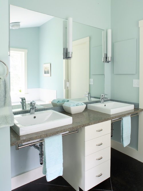 Wonderful Inspiration For A Contemporary Bathroom Remodel In Portland Maine With A  Vessel Sink, Flat