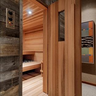 Example of a mountain style sauna design in Burlington