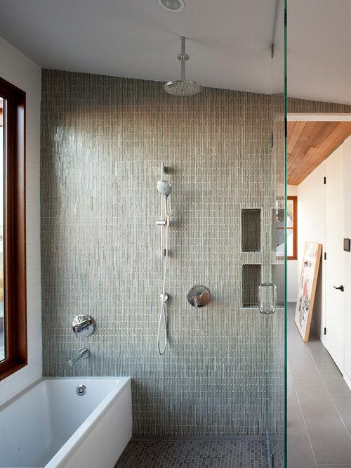 Contemporary Gray Tile Gray Floor Bathroom Idea In San Francisco