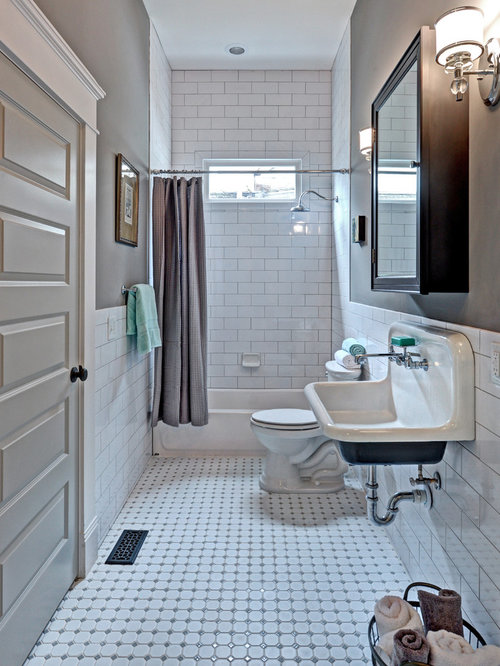 mid sized traditional white tile and subway tile ceramic floor bathroom idea in atlanta with