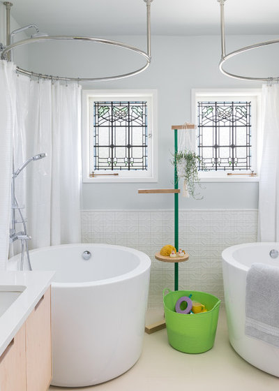 Transitional Bathroom by DeForest Architects
