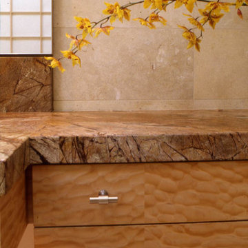 Quilted maple bath vanity