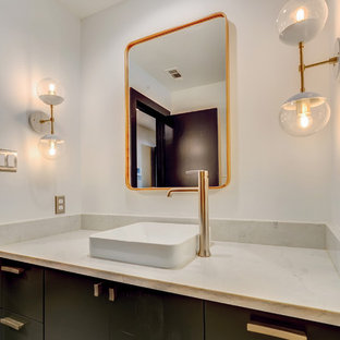 Inspiration for a medium sized contemporary family bathroom in Dallas with flat-panel cabinets, green cabinets, an alcove bath, a one-piece toilet, white tiles, ceramic tiles, white walls, ceramic flooring, a vessel sink, quartz worktops and grey floors.