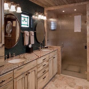 Walk-in shower - rustic walk-in shower idea in Austin