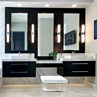 Design ideas for a mid-sized contemporary master bathroom in Los Angeles with flat-panel cabinets, white tile, marble, grey walls, a vessel sink, marble benchtops, white floor, white benchtops and black cabinets.