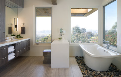 Bathroom Gets Exotic Wood, River Rock and Bigger Views