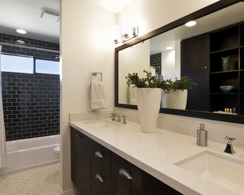 Inspiration For A Contemporary Black Tile And Subway Bathroom Remodel In San Diego With An