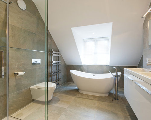 Inspiration For A Mid Sized Contemporary Master Brown Tile Bathroom Remodel In London With An