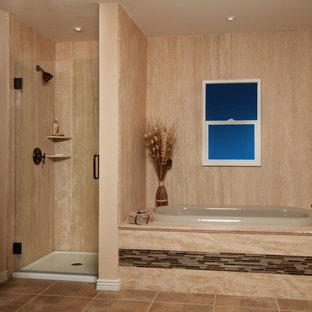 Inspiration for a mediterranean master beige tile, brown tile and orange tile terra-cotta floor and orange floor bathroom remodel in Bridgeport with orange walls and a hinged shower door