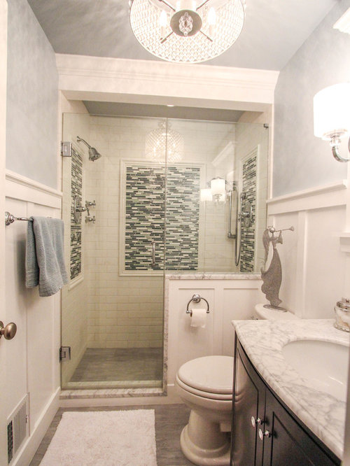 Example Of A Small Classic 3/4 White Tile And Subway Tile Travertine Floor  Double