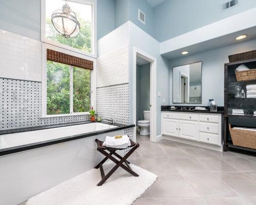Bathroom   Traditional Multicolored Tile Bathroom Idea In San Francisco  With Raised Panel Cabinets,