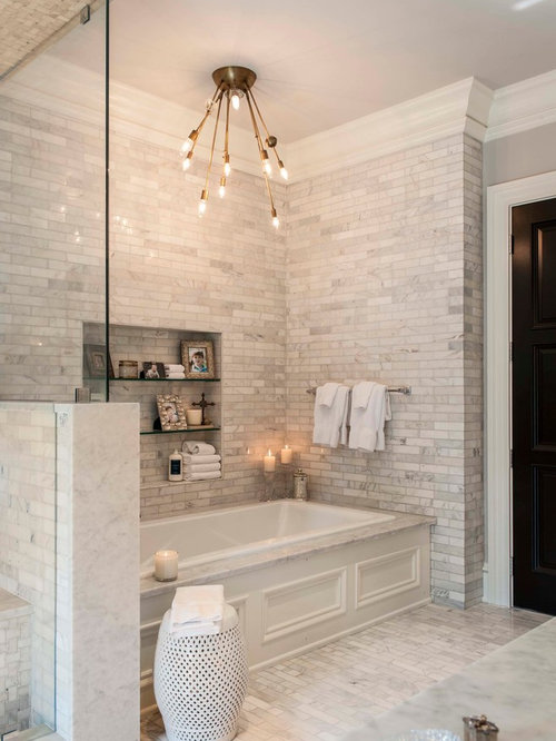 Transitional Master Gray Tile Drop In Bathtub Photo In Indianapolis With  Gray Walls And Marble