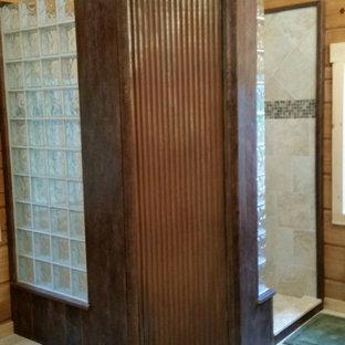 Mid-sized mountain style master beige tile and ceramic tile ceramic floor doorless shower photo in Philadelphia