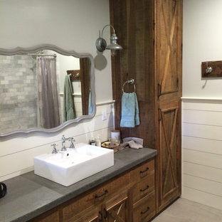 Reclaimed Pine and Concrete Bathroom
