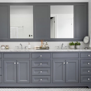 Inspiration for a transitional master bathroom in Brisbane with recessed-panel cabinets, grey cabinets, white tile, mosaic tile floors, an undermount sink, grey floor and white benchtops.