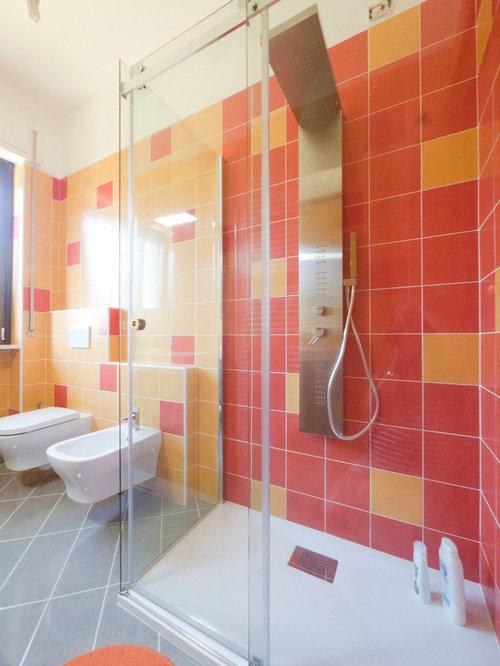 Example Of A Mid Sized Minimalist Master Orange Tile And Ceramic Tile Ceramic Floor Corner