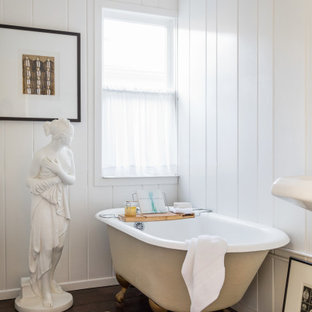 Example of a mid-sized classic 3/4 dark wood floor, brown floor, shiplap ceiling and shiplap wall bathroom design in Los Angeles with white walls