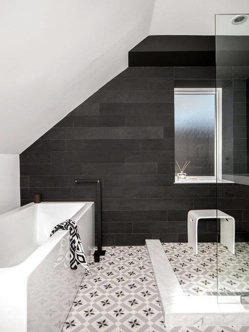 Salle de bain classique avec un mur noir photos et id es for Cabine douche study