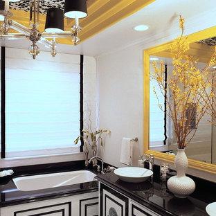 Esempio di una grande stanza da bagno padronale design con consolle stile comò, vasca ad alcova, pareti bianche, pavimento con piastrelle a mosaico, lavabo a bacinella, pavimento bianco e top nero