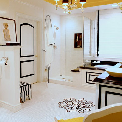 Inspiration for a large contemporary master white tile and ceramic tile mosaic tile floor and white floor bathroom remodel in Los Angeles with furniture-like cabinets, white walls, a vessel sink and black countertops