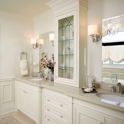 Inspiration for a mid-sized timeless master mosaic tile ceramic tile bathroom remodel in Toronto with recessed-panel cabinets, white cabinets, white walls, an undermount sink, quartz countertops and beige countertops