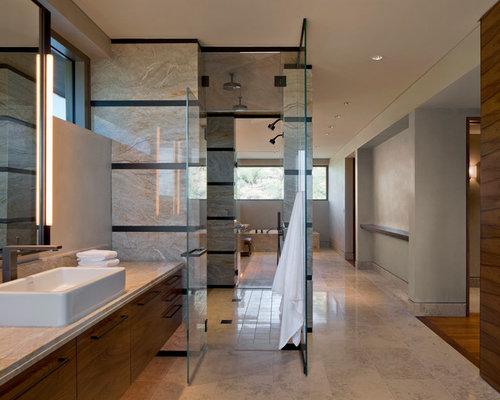 Trendy Marble Tile Walk In Shower Photo In Phoenix With A Vessel Sink