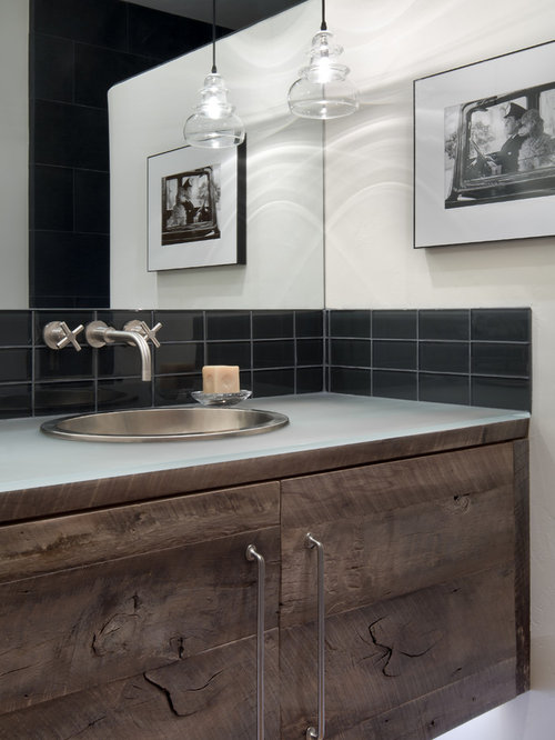 Black Rustic Bathroom Vanity: Rustic Bathroom Design Ideas, Renovations & Photos With