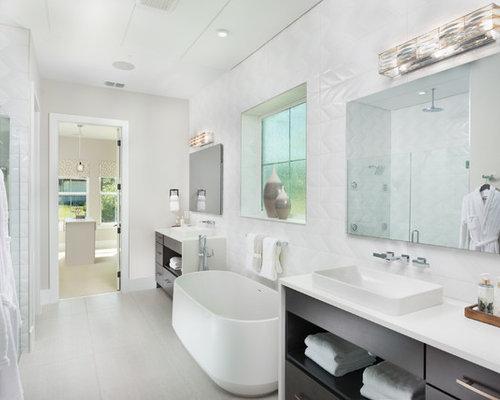 Large Trendy Master White Tile White Floor Freestanding Bathtub Photo In  Orlando With Flat Panel